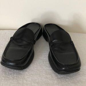 Coach size 6 1/2 black leather mules EUC
